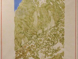 A. Bereziański, bez tytułu, l. 80., płótno, olej, kredka, 131 cm x 132 cm